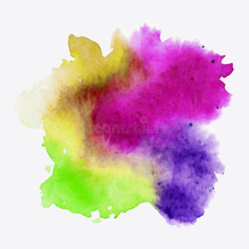 Texture abstraite de peinture de main d'aquarelle, d'isolement sur le fond blanc Baisse d'aquarelle illustration libre de droits