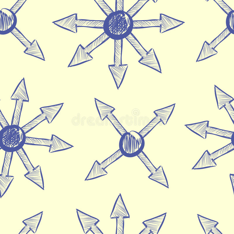 Texture of arrows. Seamless texture with the grouped blue arrows stock illustration
