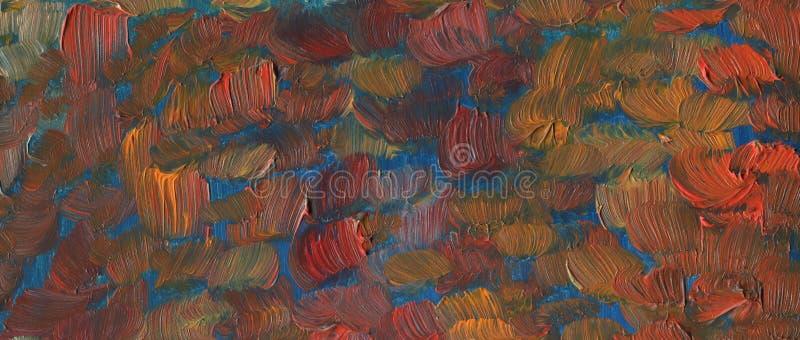 Texture avec de grandes courses de brosse fleuve de peinture à l'huile d'horizontal de forêt illustration stock