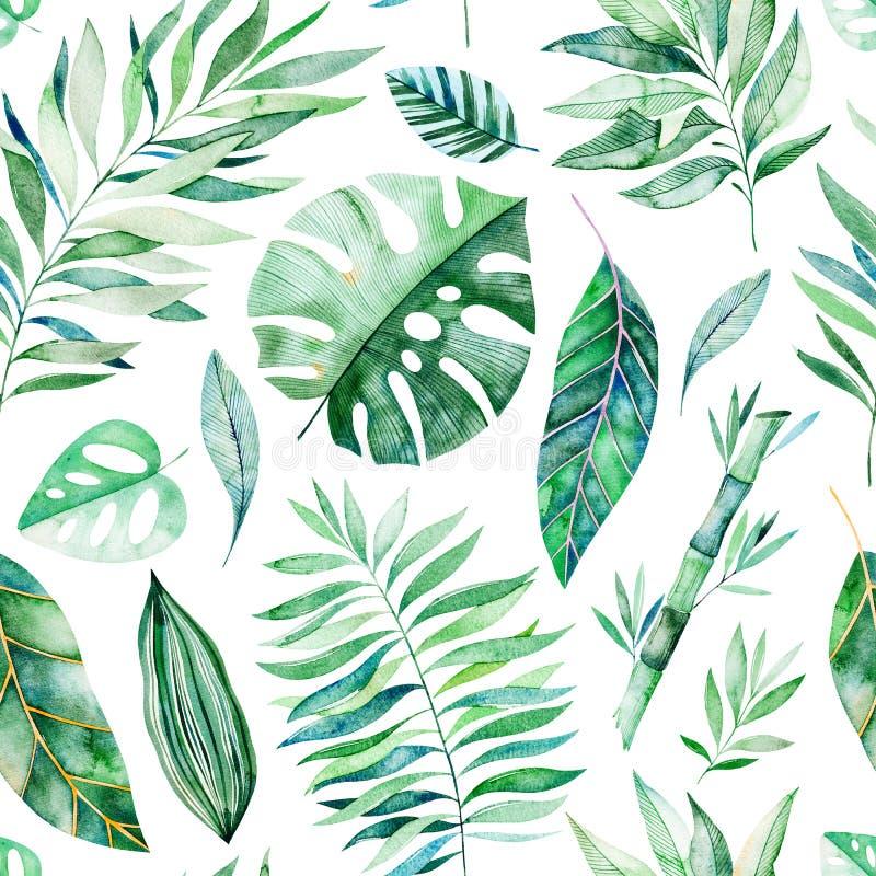 Texture avec des verts, branche, feuilles, feuilles tropicales, feuillage, bambou illustration de vecteur