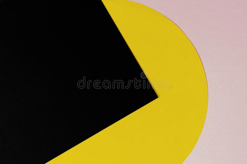 Texture background of fashion papers in memphis geometry style. Light pink, yellow and black colors.  stock photo