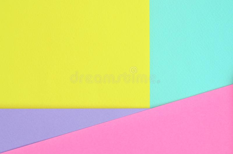 Texture background of fashion pastel colors. Pink, violet, yellow and blue geometric pattern papers. minimal abstract stock photos