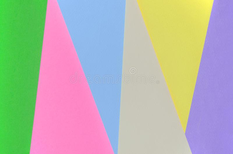 Texture background of fashion pastel colors. Pink, violet, yellow, green, beige and blue geometric pattern papers. minimal royalty free stock photography