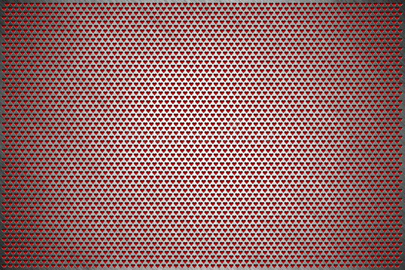 Texture background. Gray perforated metal sheet. Steel plate with holes of a heart shape vector illustration