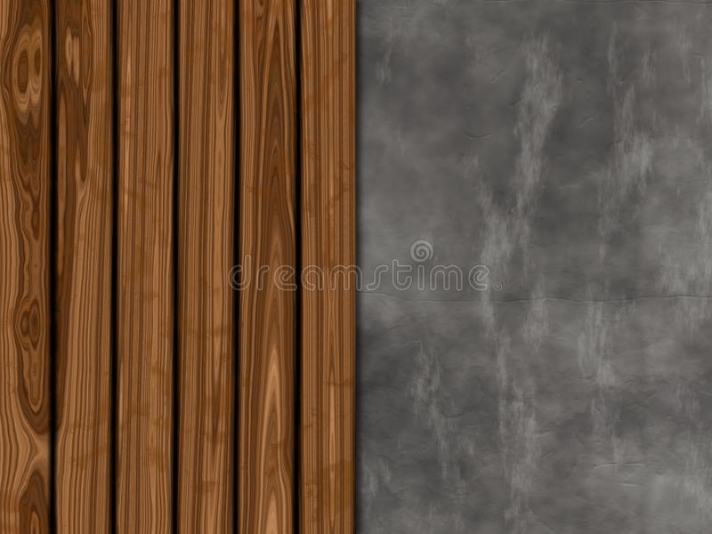 Texture background with old wood and concrete. Design stock illustration