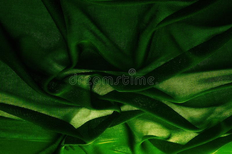 Texture, background, pattern. Green transparent fabric. Solid Hi royalty free stock image