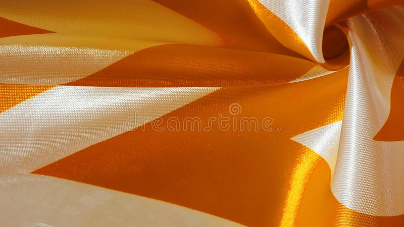 Texture, background, pattern, silk yellow and white crepe breath. Labyrinth Cube Geometric Fabric with a print. The best solution. For your projects. You`ll be vector illustration