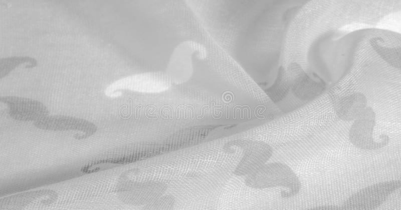 Texture background, white silk fabric with painted cartoon mustache, Geekly Mustache cream, Geekly Mustache white. Texture background, white silk fabric with stock illustration