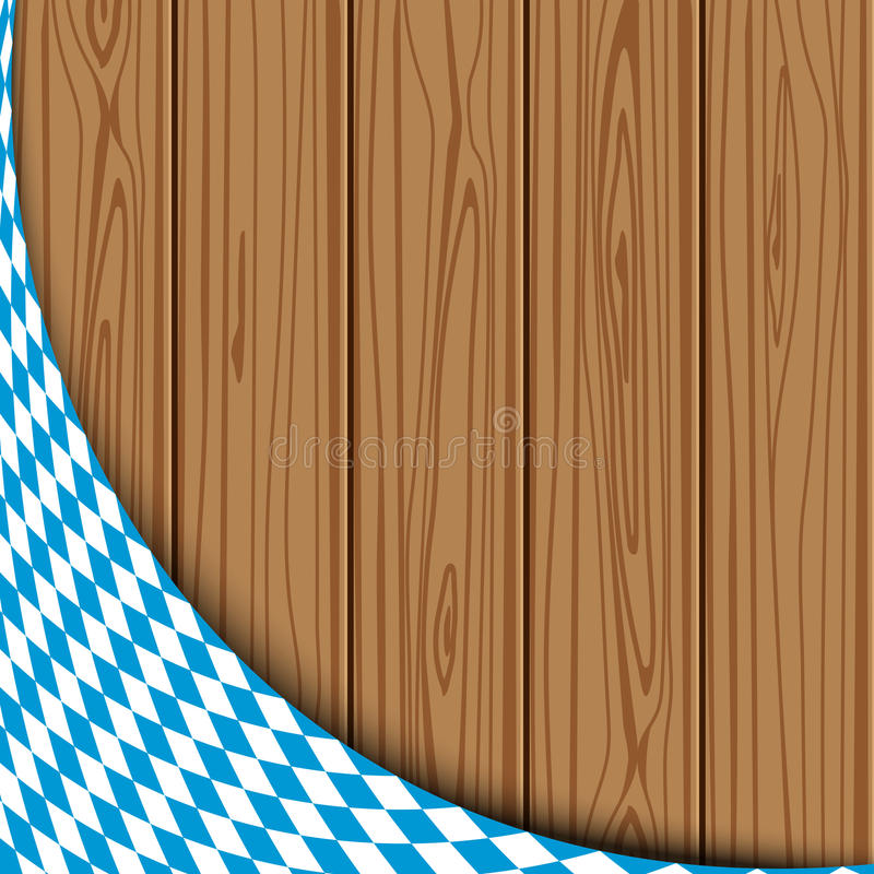 Texture of the Bavarian flag. On the background of the wooden planks. banner advertising for the Oktoberfest celebration royalty free illustration