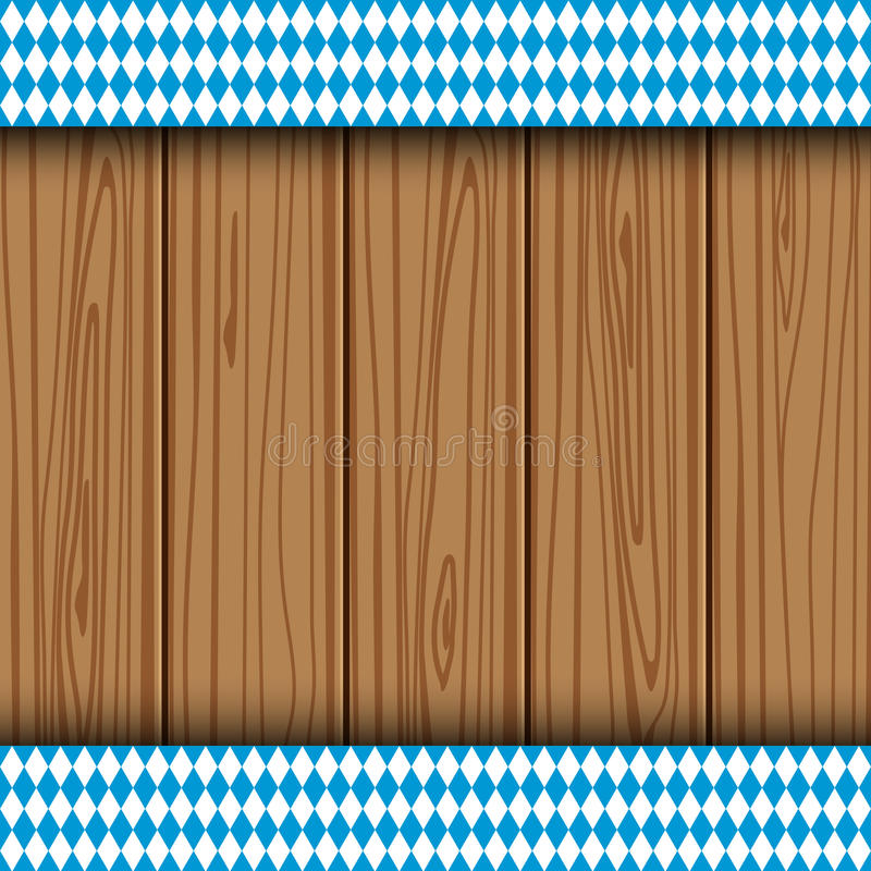Texture of the Bavarian flag. On the background of the wooden planks. banner advertising for the Oktoberfest celebration stock illustration