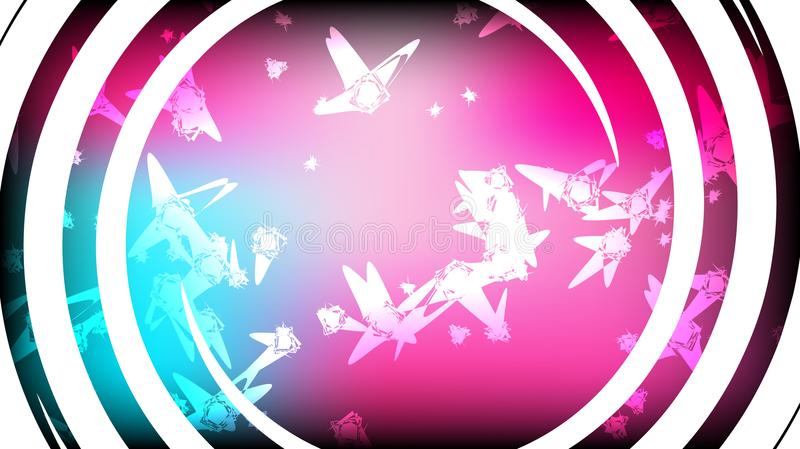 Texture of beautiful festive polygonal circular cosmic magical multi-colored colored far-away bright violet blue motley twisted ga stock illustration