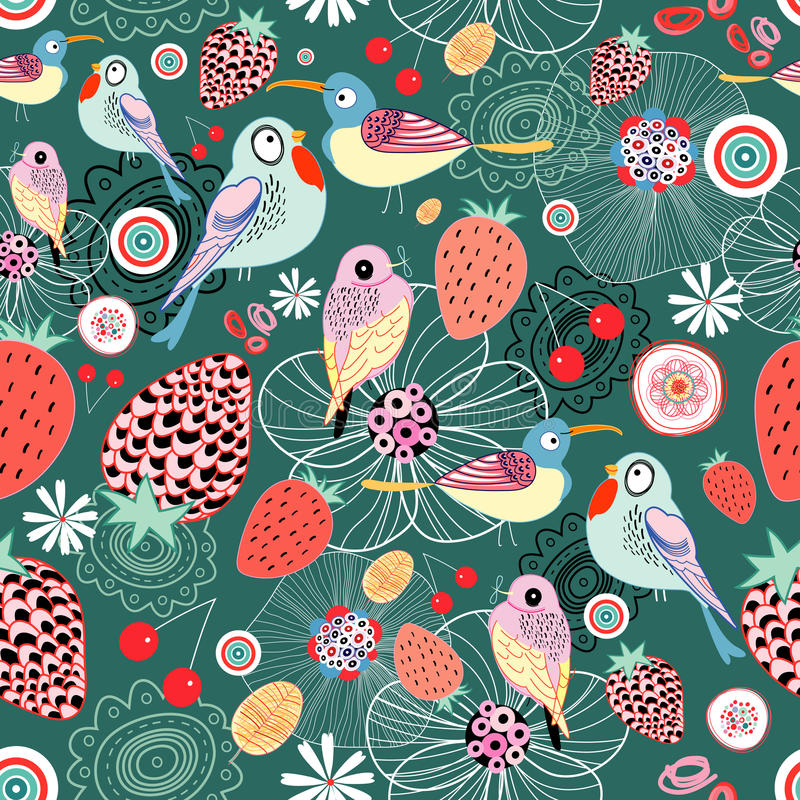 Texture of berries and birds. Seamless floral pattern with birds and berries on a green background royalty free illustration