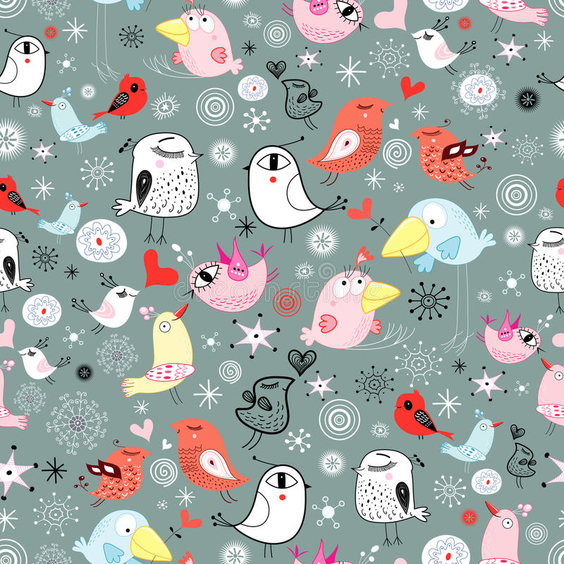 Texture of the birds. Seamless pattern of the fun birds on a gray background with snowflakes stock illustration