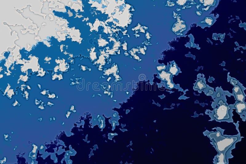 Texture blanche et bleue de fond Carte abstraite avec le rivage du nord, mer, océan, glace, montagnes, nuages illustration de vecteur