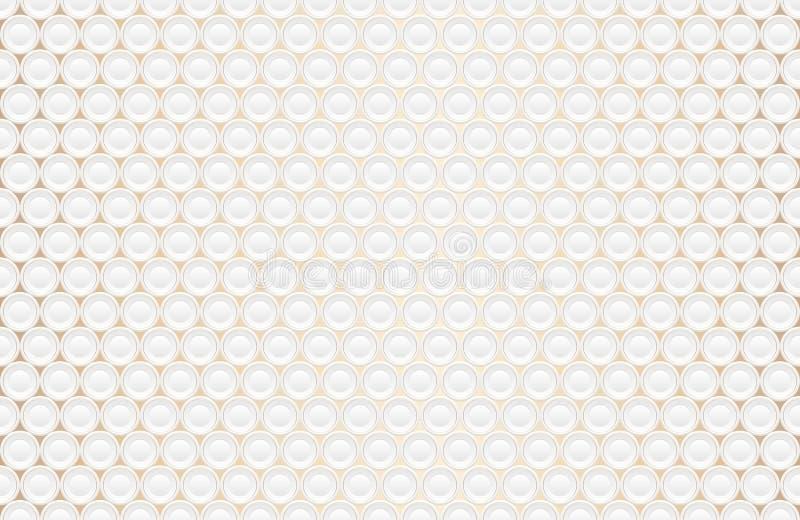 Texture blanche gravante en refief abstraite de volume, modèle sans couture de vecteur Fond diminué de forme ronde, modèle 3d géo illustration libre de droits