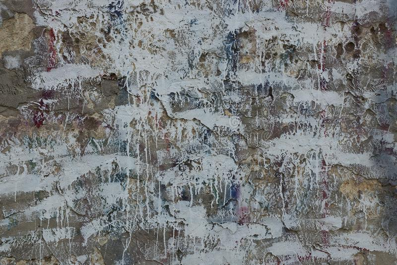 Texture blanche grise des taches de peinture sur le vieux mur photo libre de droits