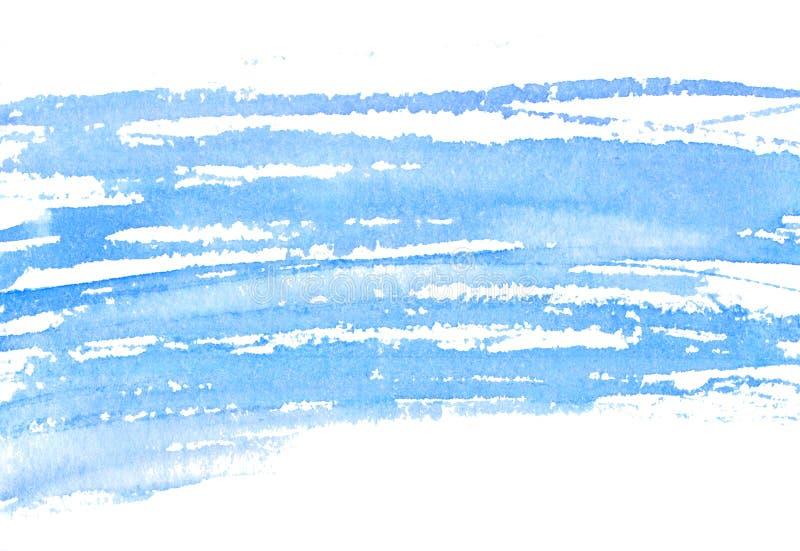 Texture bleue d'aquarelle des courses sèches de brosse Fond horizontal pour des bannières, épousant des invitations, cartes de vo illustration libre de droits