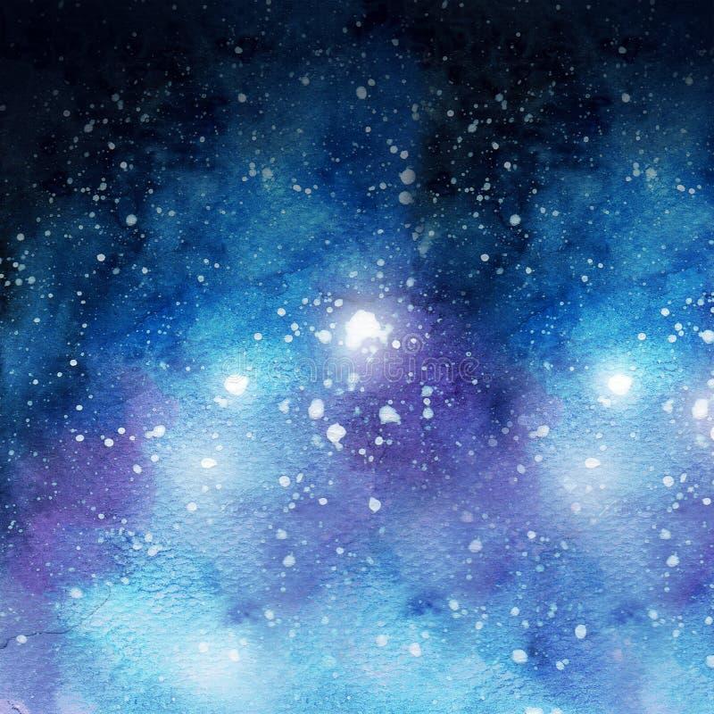 Texture bleue d'illustration d'aquarelle de galaxie illustration libre de droits