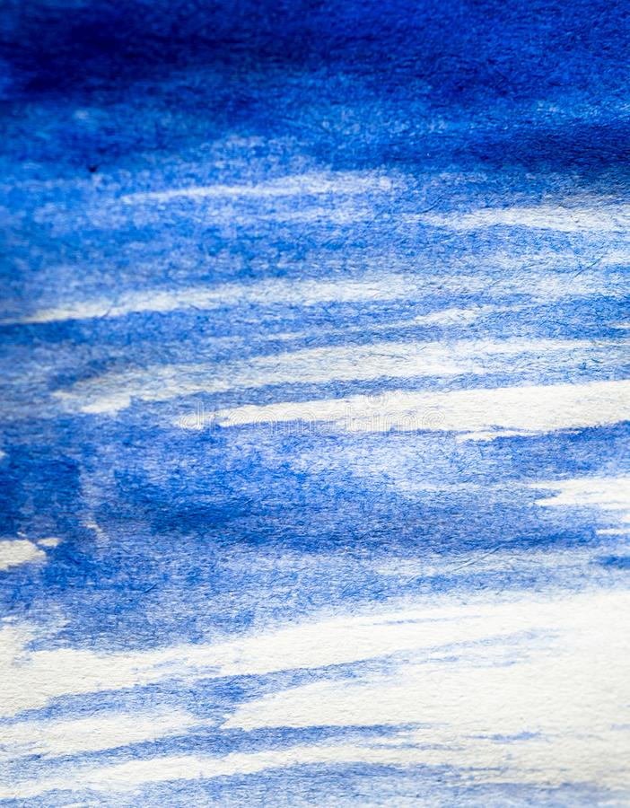 Texture of blue watercolour paint on white paper. Vertical background with stains of watercolor brush strokes. Rectangular photo royalty free stock photos