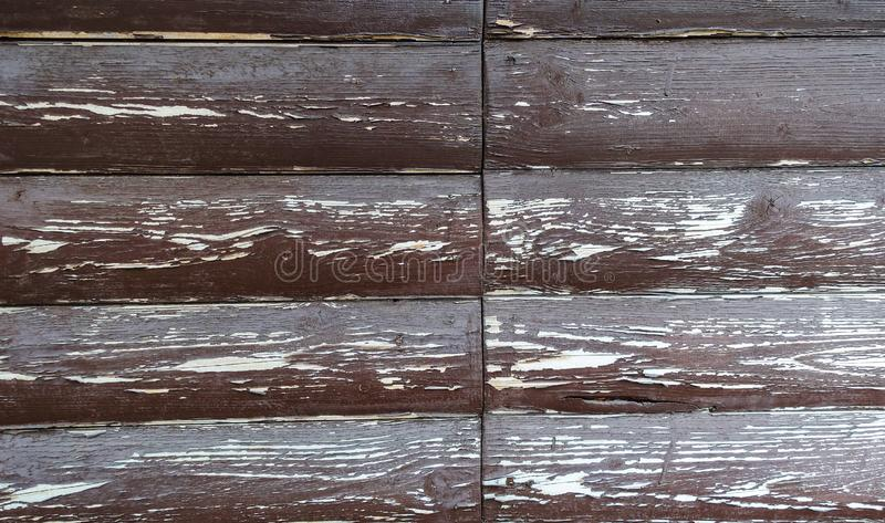 The texture of the board with peeling paint. Abstract background for design. Brown with white rounded boards . Wall panel royalty free stock photos
