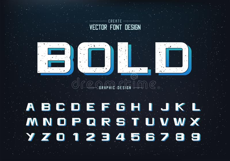 Texture Bold Font and alphabet vector, Design typeface letter and number, Graphic text on grunge background. Bold Font and alphabet vector, Design typeface royalty free illustration