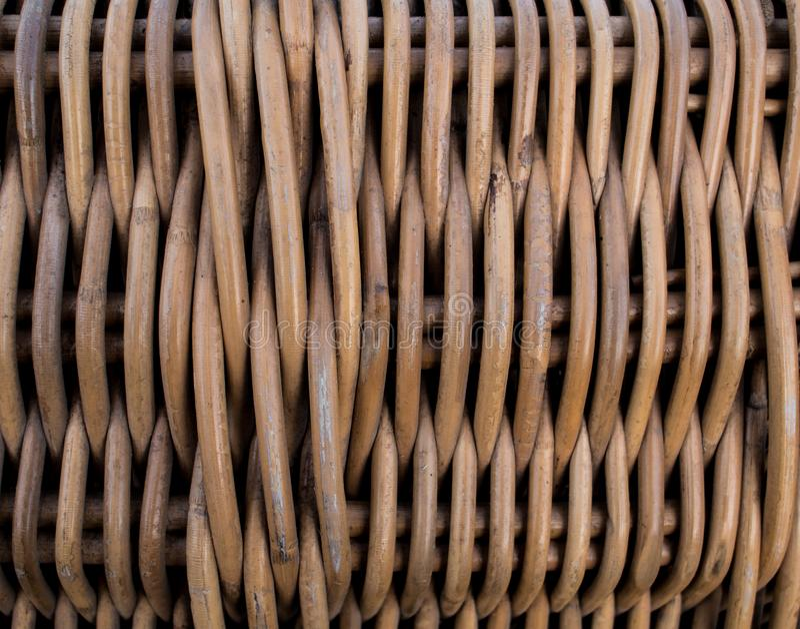 Texture of braided basket pattern. Wicker surface. Twiggen bin. royalty free stock photo