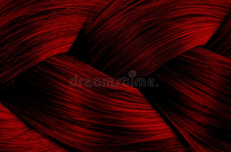 Texture braided straight hair spikelet red color stock photography