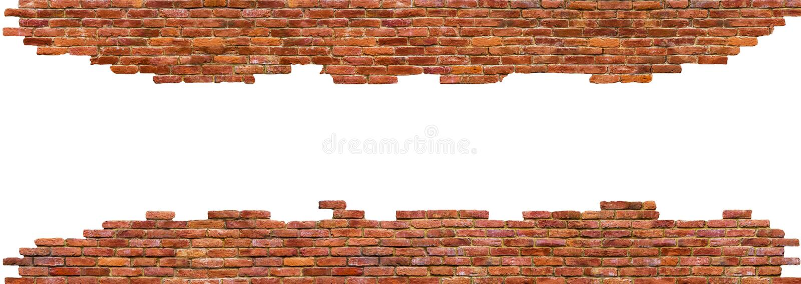 Texture of brick wall High quality, isolated on white stock images