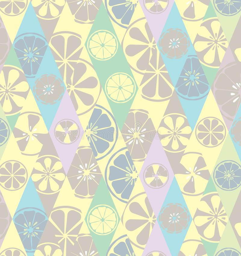 Texture bright blue summer stylish glamorous fashionable with a pattern of lemons limes oranges citrus fresh fruit vitamin. Tropical tasty sweet on the vector illustration