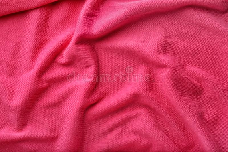 Texture of bright pink fabric, closeup royalty free stock photo