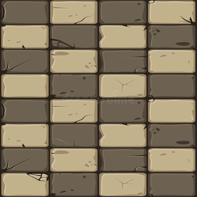 Texture of brown stone tiles, seamless background stone wall. Vector illustration for user interface of the game element. Texture of brown stone tiles, seamless royalty free illustration