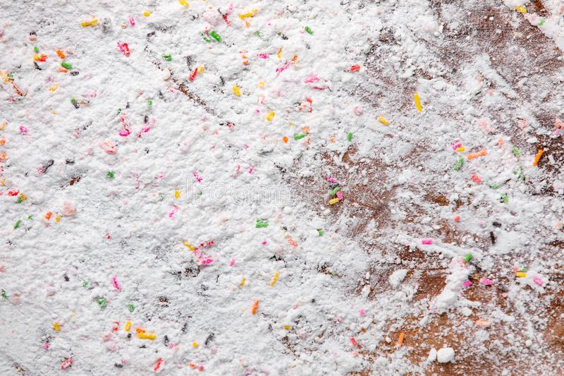 Texture details of cake flour on wood plate, studio shot background, concept for food and bakery ingredient. royalty free stock images