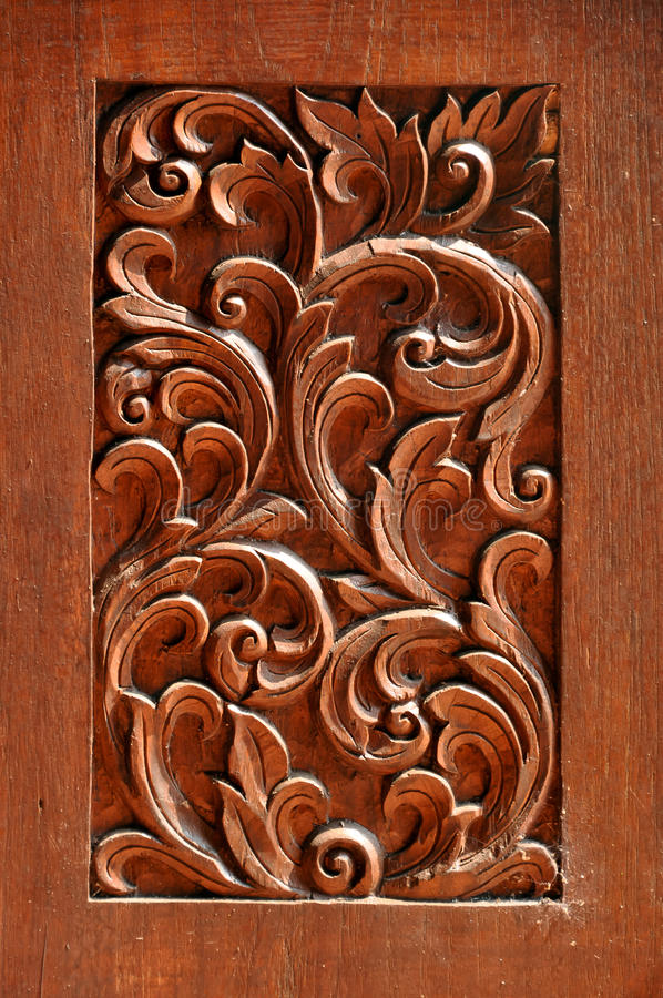 Texture of carved wood. In the interior stock photo