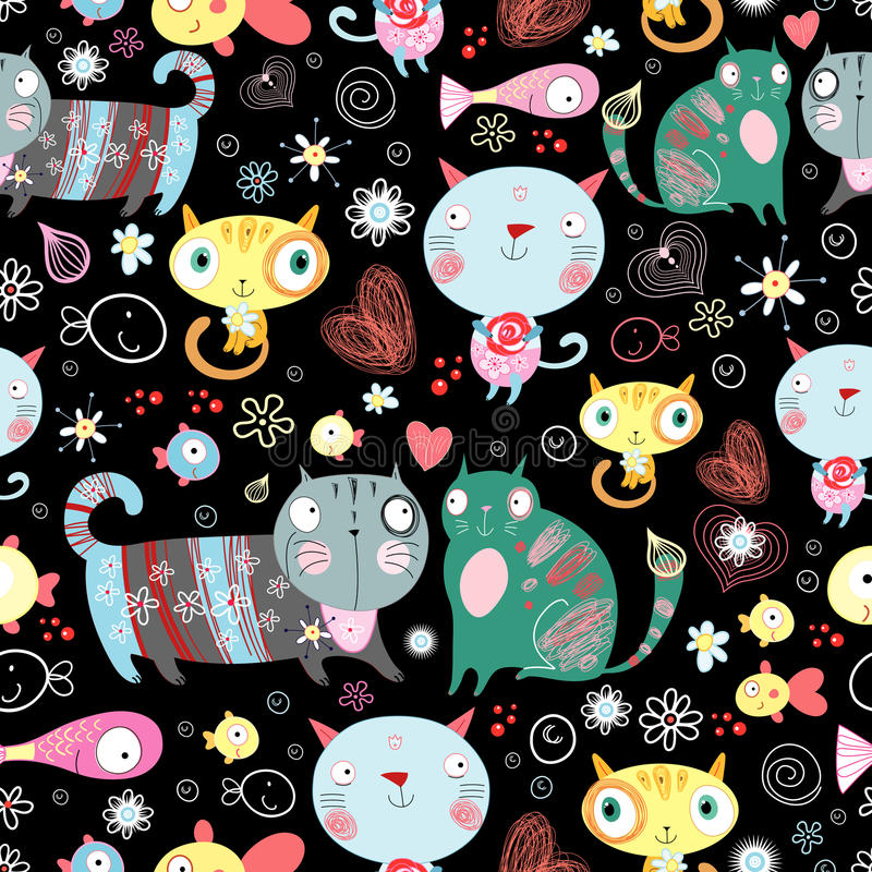 Texture of cat lovers. Seamless pattern of colorful Valentine's cats on a black background