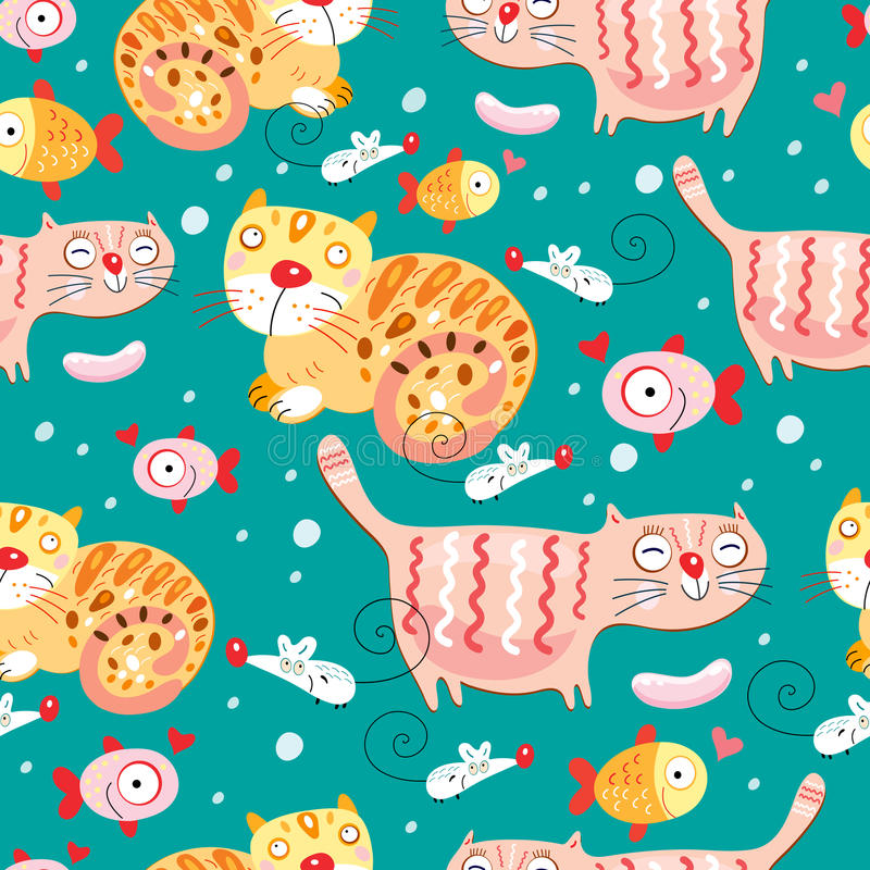 The texture of the cats and fish and mice