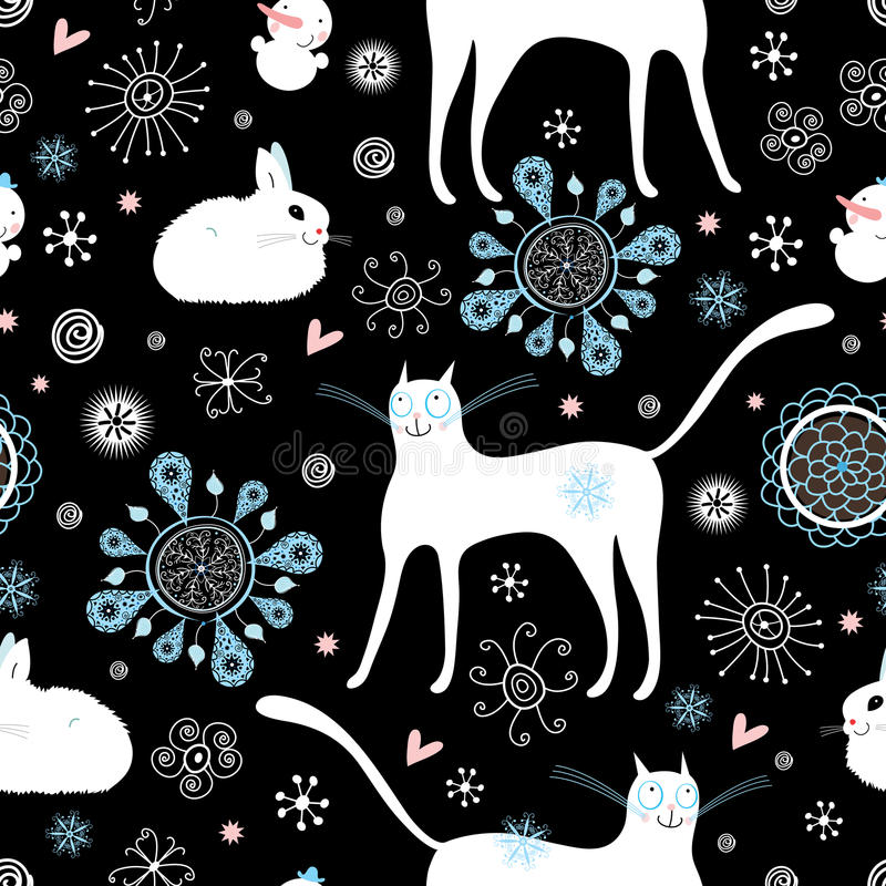 Download Texture cats and rabbits stock vector. Image of repeat - 17060181