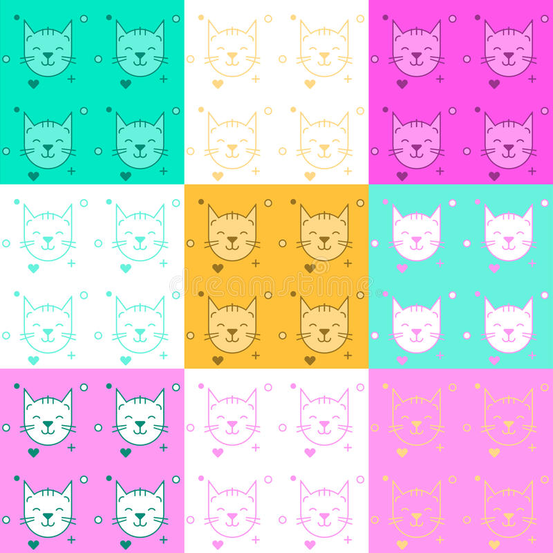 Texture with cats. Vector illustration royalty free illustration