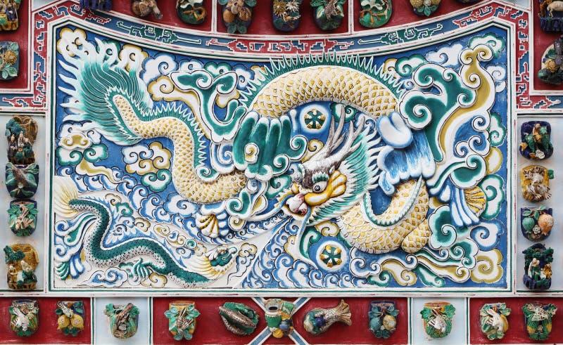 Texture chinoise de dragon sur le mur, Thaïlande photos stock