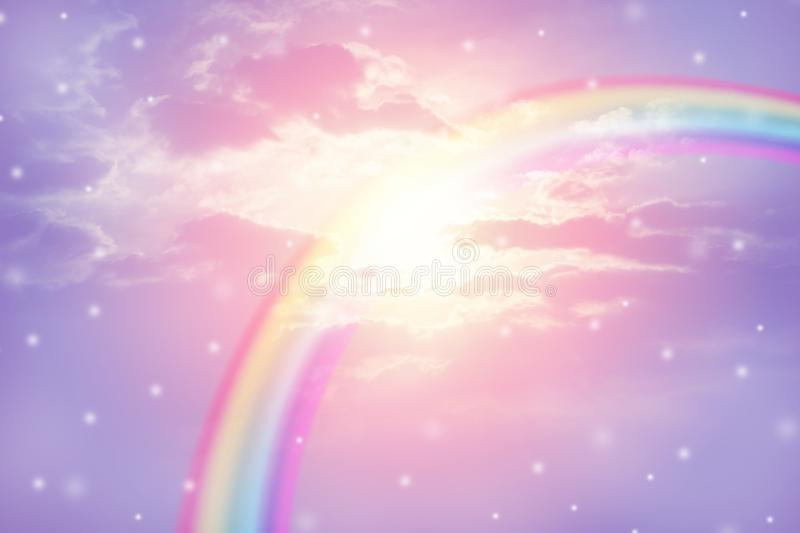 Rainbow in cloudy sky royalty free stock photography