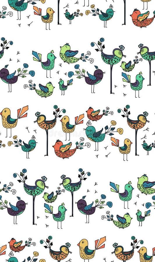 Texture colorée sans couture avec des oiseaux photos libres de droits