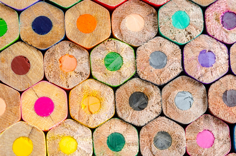 Texture of colored pencils. Texture of many wooden colored pencils royalty free stock image