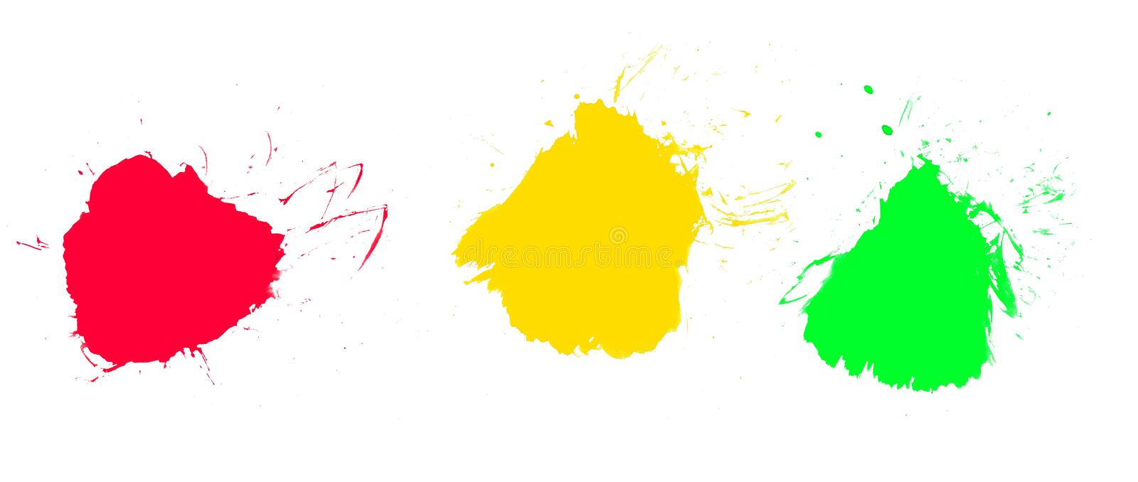 Texture of 3 colorful blobs. Three dirty blobs red orange and green royalty free illustration