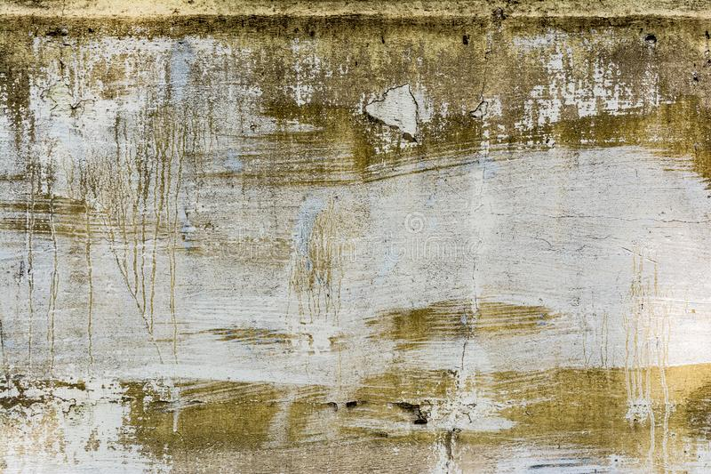 Texture concrete wall with destroyed plaster layer and paint, shadow from trees, architecture abstraction background royalty free stock photos