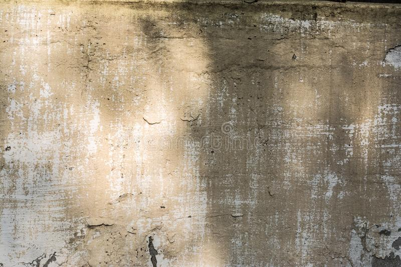 Texture concrete wall with destroyed plaster layer and paint, shadow from trees, architecture abstraction background stock images