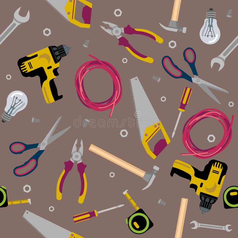 Texture construction tools flat illustration stock illustration