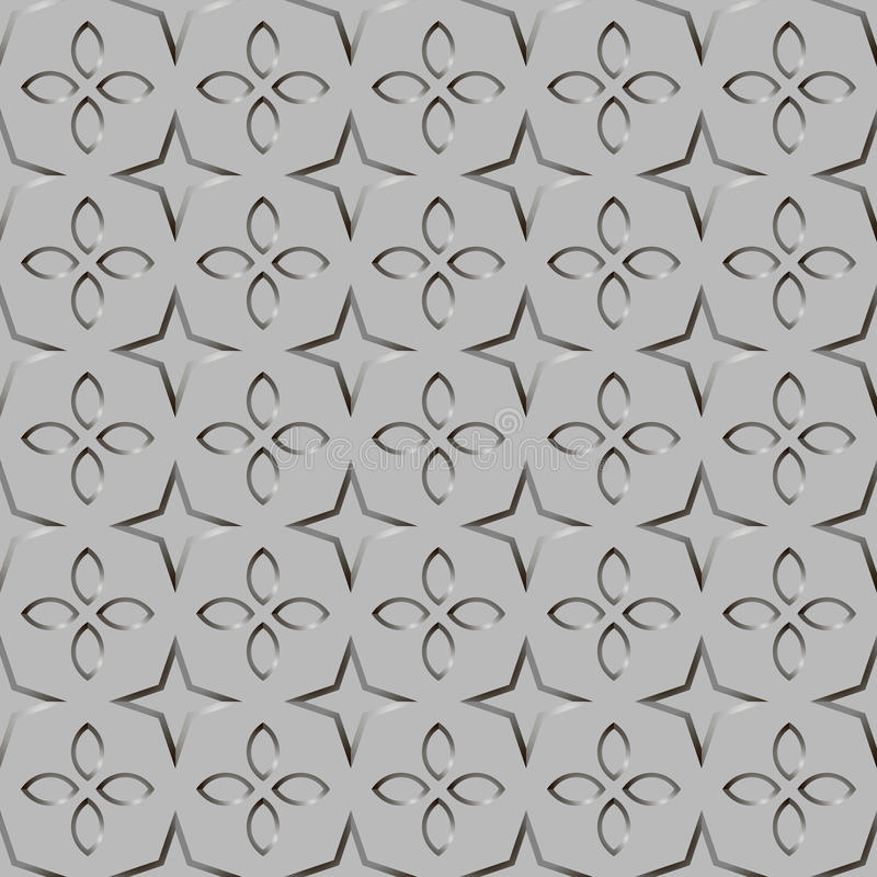 Texture of corrugated metal. Figure petals and stars. Hue metal silver. Vector illustration EPS10. Suitable for backgrounds websites and desktop computer royalty free illustration