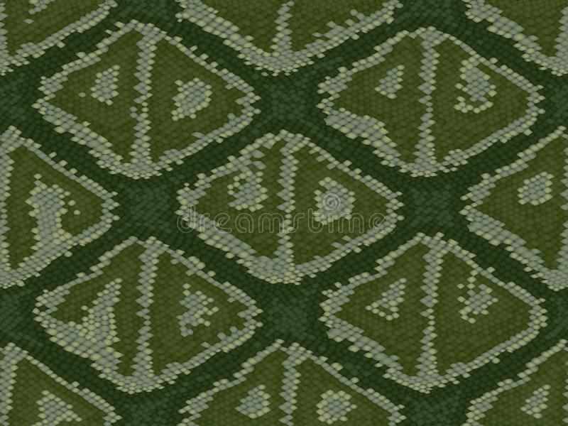 Texture of crocodile or snake skin leather, repeats seamless green black beige grunge vector illustration