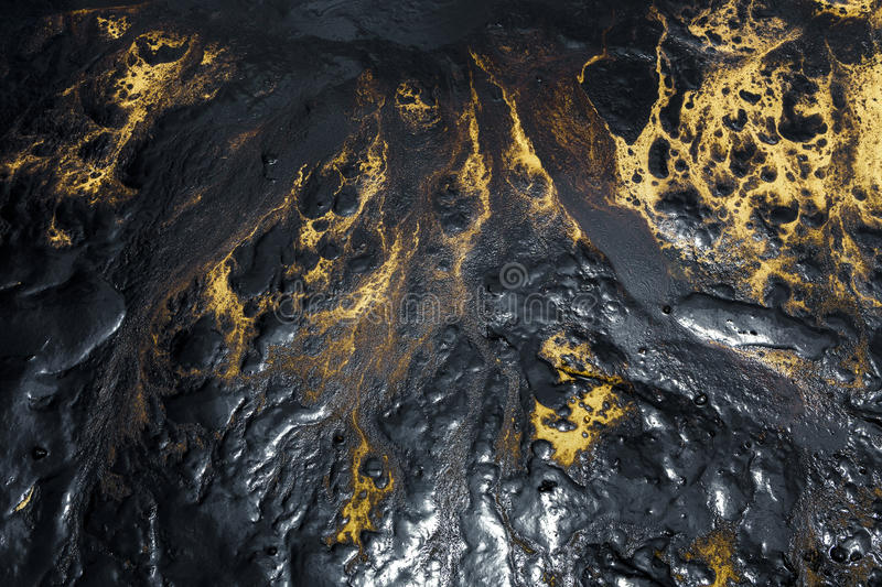 Oil spill texture on the sand beach. Texture of Crude oil spill on sand beach from oil spill accident stock images