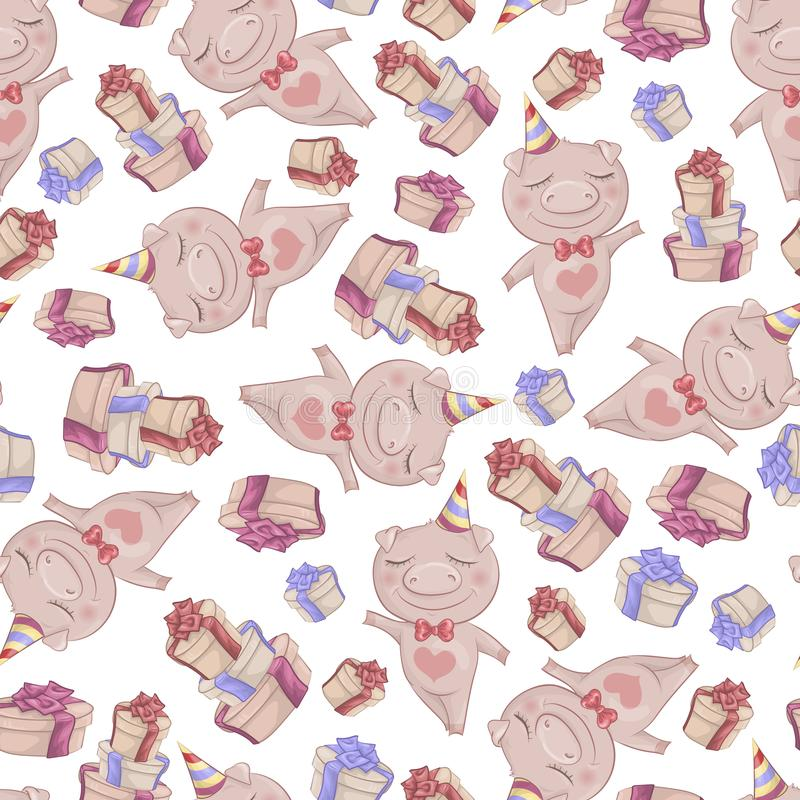 Texture with cute cartoon pigs. Seamless pattern stock illustration