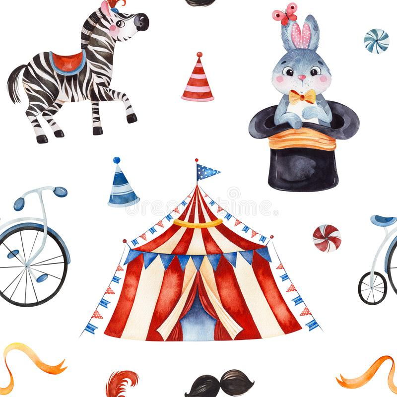 Texture with cute little bunny in a hat,zebra,circus tent,ribbon,bike. Lovely circus pattern.Seamless Texture with cute little bunny in a hat,zebra,circus tent royalty free illustration